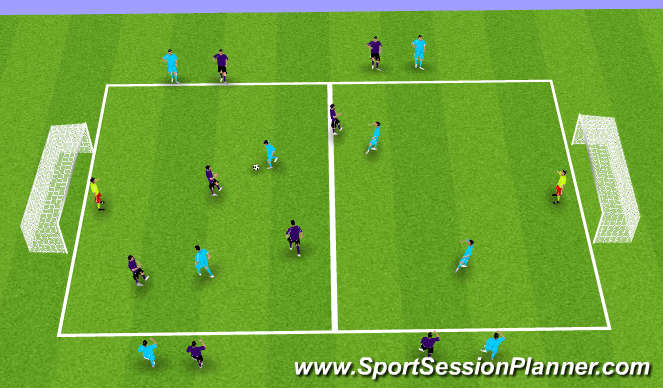 Football/Soccer Session Plan Drill (Colour): 8 vs. 8 (4 vs. 4)