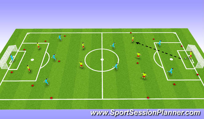 Football/Soccer Session Plan Drill (Colour): 8 vs. 8 with Narrow Endlines