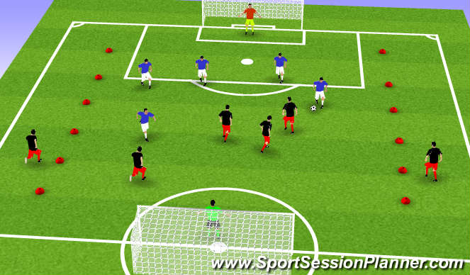 Football/Soccer Session Plan Drill (Colour): 5 vs. 5 - 1