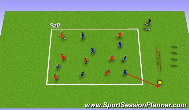 Football/Soccer Session Plan Drill (Colour): Posesion mejora del control.