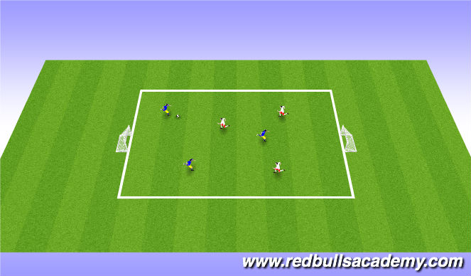 Football/Soccer Session Plan Drill (Colour): 3 vs 3 / 1 vs 1