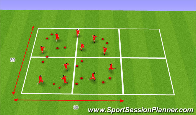 Football/Soccer Session Plan Drill (Colour): Warm-up/ Athletyic Development