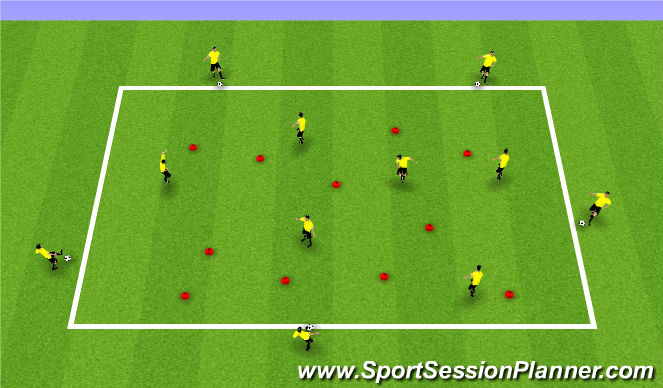 Football/Soccer Session Plan Drill (Colour): Warm-Up and Skill Practice