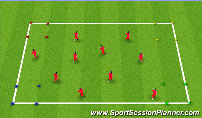 Football/Soccer Session Plan Drill (Colour): Unopposed Dribbling