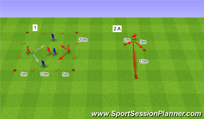 Football/Soccer Session Plan Drill (Colour): 3v3 na cztery przecinające się bramki.