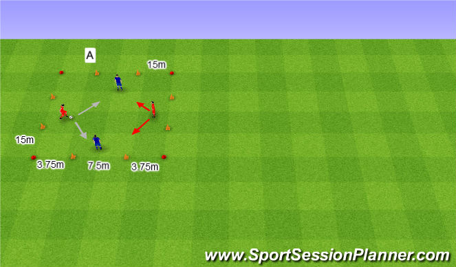 Football/Soccer Session Plan Drill (Colour): 2v2 na cztery bramki.