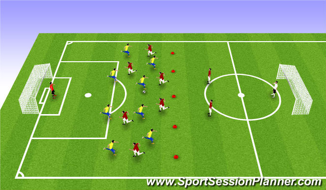 Football/Soccer Session Plan Drill (Colour): Γ. ΠΑΙΧΝΙΔΙ 8v6 ΚΑΙ 8v6