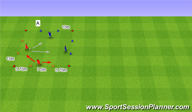 Football/Soccer Session Plan Drill (Colour): 2v2 na cztery bramki.
