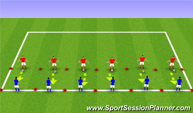 Football/Soccer Session Plan Drill (Colour): Volleying - blocked