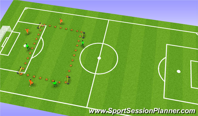 Football/Soccer Session Plan Drill (Colour): 4v4 to 4 outward goals