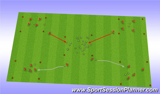 Football/Soccer Session Plan Drill (Colour): Dribling Fun Game - Nest Dribbling