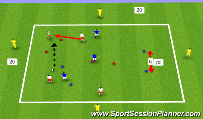 Football/Soccer Session Plan Drill (Colour): SSA - playing through gates