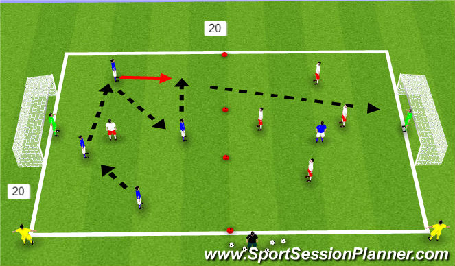 Football/Soccer Session Plan Drill (Colour): King Louis progression