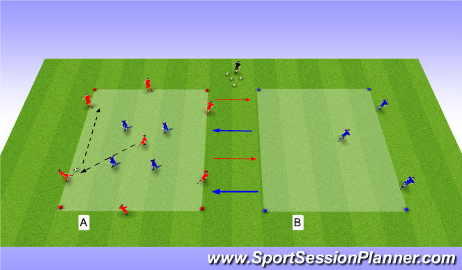 Football/Soccer Session Plan Drill (Colour): п.п.и.-7v4+3