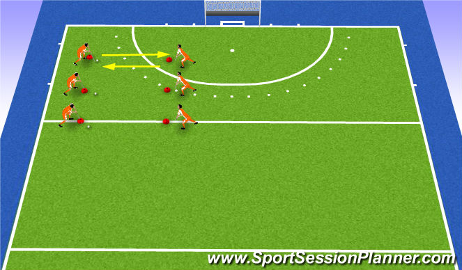 Hockey Session Plan Drill (Colour): warm-up pushing