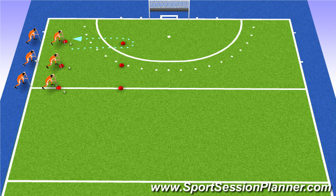 Hockey Session Plan Drill (Colour): warm-up carrying