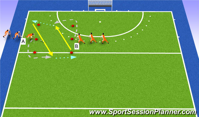 Hockey Session Plan Drill (Colour): warm-up passing