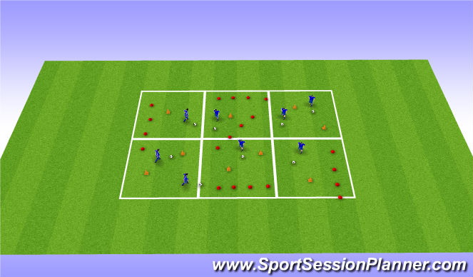 Football/Soccer Session Plan Drill (Colour): Warm--Up