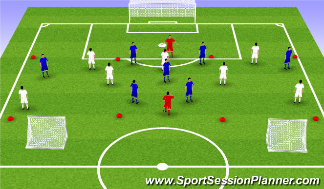 Football/Soccer Session Plan Drill (Colour): 7v7+2