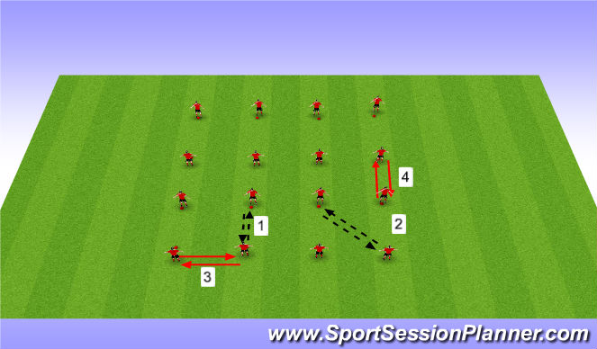 Football/Soccer Session Plan Drill (Colour): Passing movement