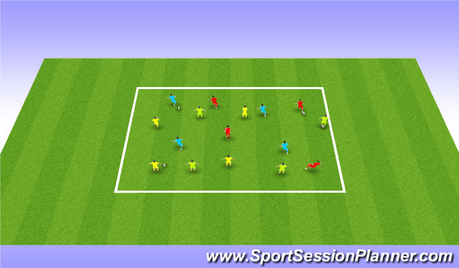 Football/Soccer Session Plan Drill (Colour): Warm up awairness of space and other players