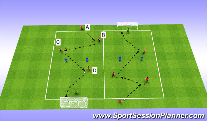 Football/Soccer Session Plan Drill (Colour): P1) Passing Through