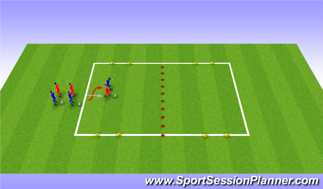 Football/Soccer Session Plan Drill (Colour): 1v1 Attacking & Counter Attacking