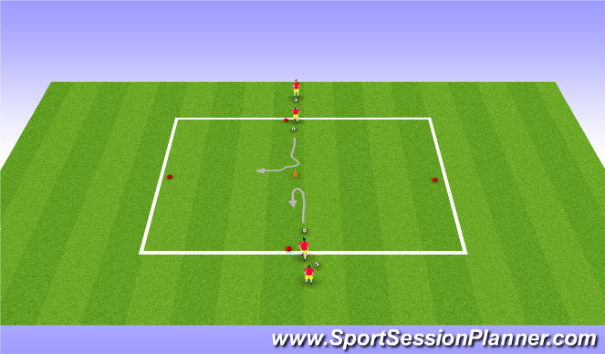 Football/Soccer Session Plan Drill (Colour): Four Line Turn Dribble