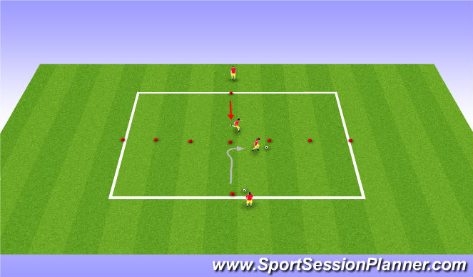 Football/Soccer Session Plan Drill (Colour): Fake to the Line