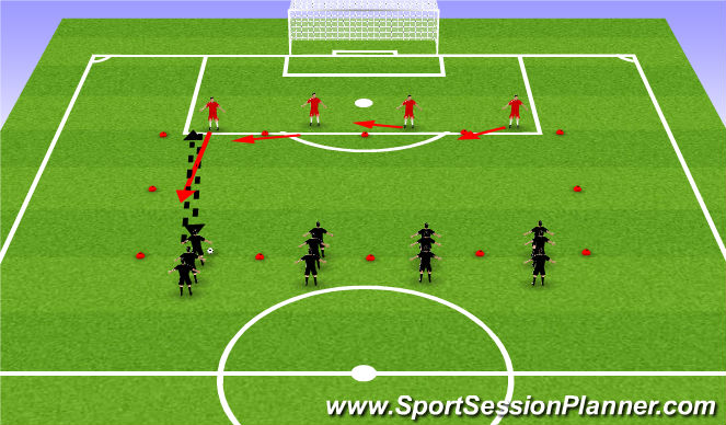 Football/Soccer Session Plan Drill (Colour): Defending: 4v4
