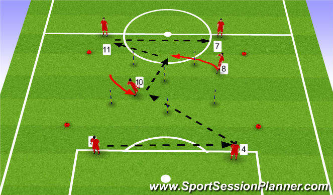 Football/Soccer Session Plan Drill (Colour): Stage I - Warmup