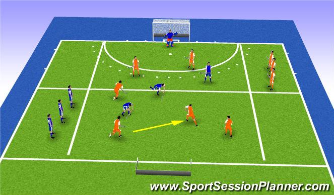 Hockey Session Plan Drill (Colour): Spelvorm combineren