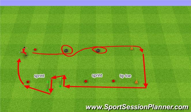 Football/Soccer Session Plan Drill (Colour): Assault course. Tor przeszkód.