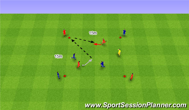 Football/Soccer Session Plan Drill (Colour): 2v2 interval game. 2v2 gra interwałowa.