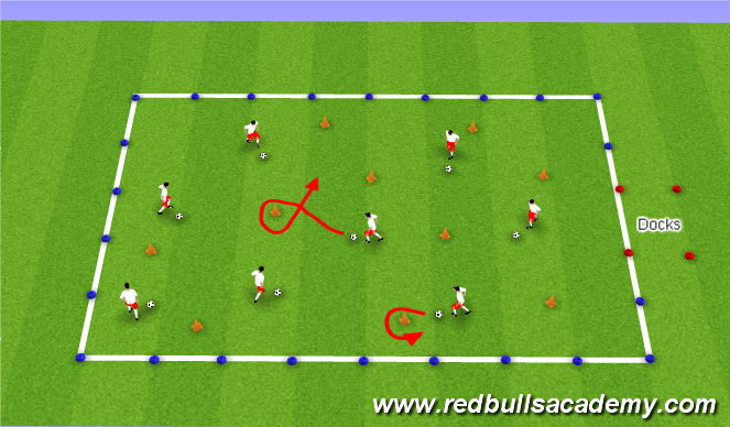 Football/Soccer Session Plan Drill (Colour): Treasure Island