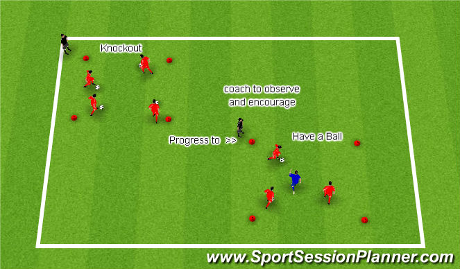 Football/Soccer Session Plan Drill (Colour): Knockout becomes Have A Ball
