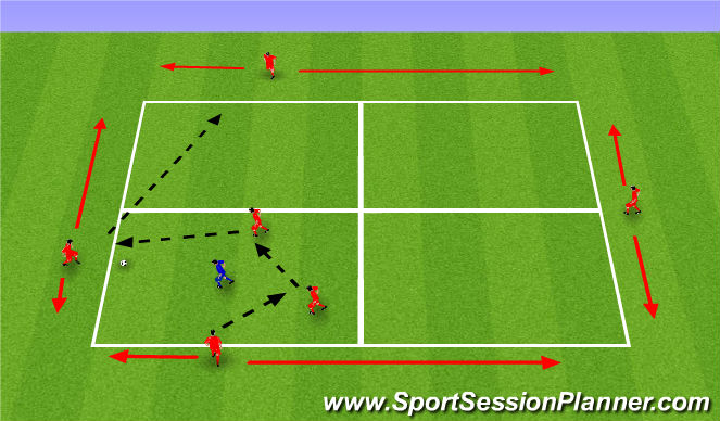 Football/Soccer Session Plan Drill (Colour): 4v1 (+2)