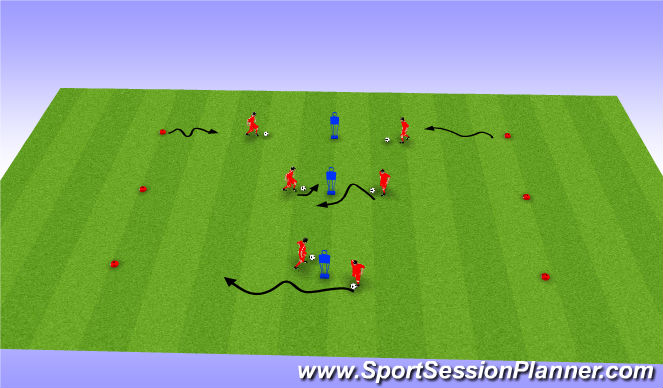 Football/Soccer Session Plan Drill (Colour): Technical Dribbling, Feints & Moves