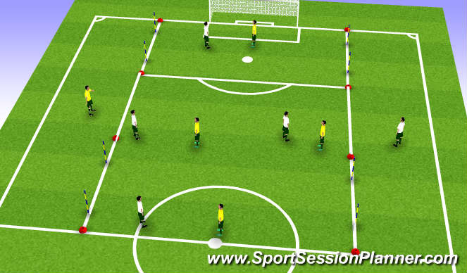 Football/Soccer Session Plan Drill (Colour): 4 v 4 with 1 target player.