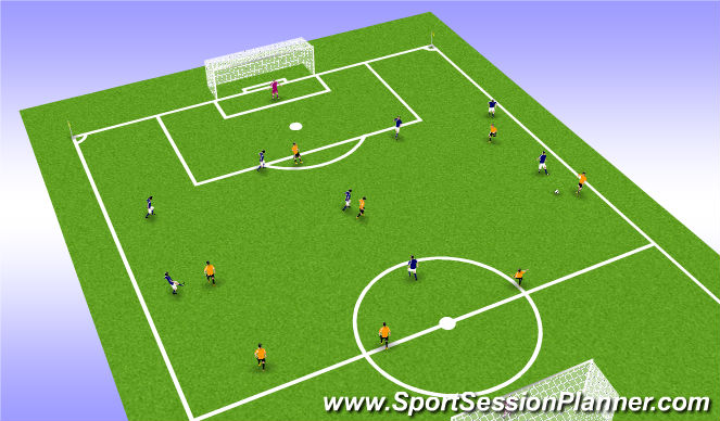 Football/Soccer Session Plan Drill (Colour): 9v9 match