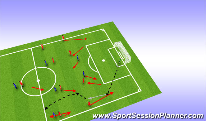 Football/Soccer Session Plan Drill (Colour): Back 4 Attack - Playing LB