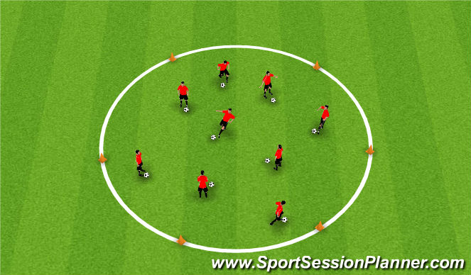 Football/Soccer Session Plan Drill (Colour): Dribbling - football island