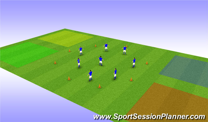 Football/Soccer Session Plan Drill (Colour): Warm up - coloured corners