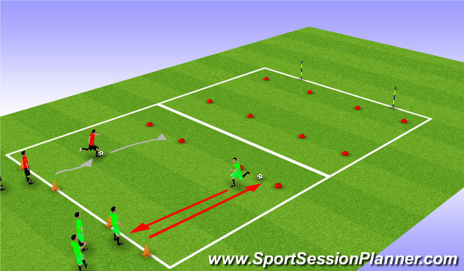 Football/Soccer Session Plan Drill (Colour): Ball relay race