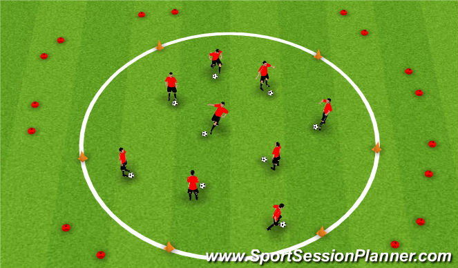Football/Soccer Session Plan Drill (Colour): Dribbling - Alien attack