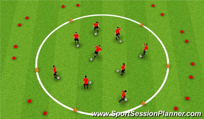 Football/Soccer Session Plan Drill (Colour): Dribbling - Alien attack