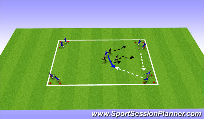 Football/Soccer Session Plan Drill (Colour): Defending in small groups
