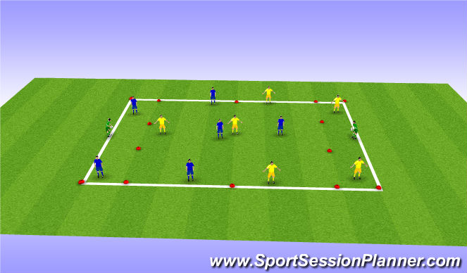 Football/Soccer Session Plan Drill (Colour): playing out from back passing drill