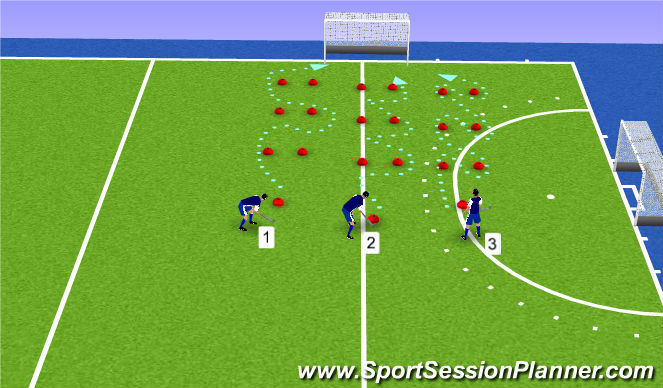 Hockey Session Plan Drill (Colour): oefening1