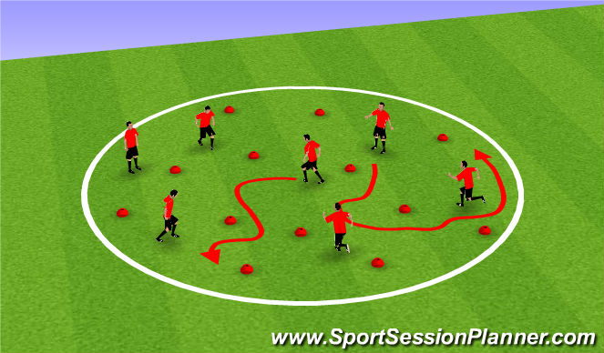 Football/Soccer Session Plan Drill (Colour): Warm up - Volcano